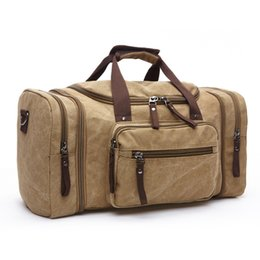 Canvas Travel Duffel Bag Men Handbag Large Capacity Packing Cubes Luggage  Organizer Male Carrying Bag Leather Weekend Bag 478ca69d7ddb8