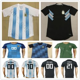 65cef17021d 2018 World Cup Argentina Soccer Jersey Home Blue Away Black 10 MESSI KUN  AGUERO MARADONA 21 DYBALA HIGUAIN DI MARIA Custom Football Shirt