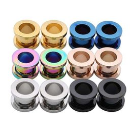 $enCountryForm.capitalKeyWord NZ - Unisex 2PC Steel auricle Ear Plugs Tunnel Flesh Earring Gauges Hollow Piercings Tunnels Expanders Rings Color Mixed Body Jewelry