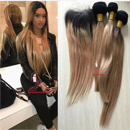 34 inches hair Australia - #1B 27 Honey Blonde Ombre Peruvian Hair Straight Weaves 3 Bundles With Dark Roots Blonde Lace Closure Two Tone Human Hair Extensions