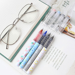 water color change plastic Australia - MIRUI stationery straight liquid pen 0.38mm gel pen student water test black red blue color can change core
