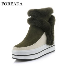 12cce765819 FOREADA Genuine Leather Snow Boots Women Real Rabbit Fur Ankle Boots Winter  Warm Platform High Heel Boots Wedges Shoes Female