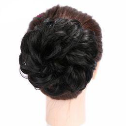 Clip Hair Black Australia - Women Chignon Hair Bun Donut Clip In Hairpiece Extensions Black Brown Blonde Red Synthetic High Temperature Fiber Chignon
