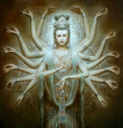 $enCountryForm.capitalKeyWord Australia - Dunhuang Kwan-yin Thousand-hand godness Handpainted Portrait oil painting Wall Art Home Deco On Canvas Multi sizes p131