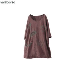 2e3cfd50e7 Newest Summer Embroidery Loose Tops Coon and Linen Retro Vintage Loose O  Neck Tees Plus size T Shirts Yalabovso A74-XX8804 Z20