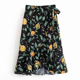 828ef846a9a0f4 FIRSTTO Elegante estampado de hojas de limón dobladillo irregular A-Line  falda de oscilación cintura alta atada arco Retro mujeres hasta la rodilla  falda ...