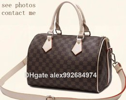 Top AAAAA quality Real oxidizing leather shopping Bag speedy Damier Handbag  25 30 35 with strap lock and key Classic Printed Canvas Bag 155b5d40f6929