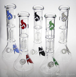 hitman bongs Canada - New mix color label hitman glass bong colorful water pipe oil rig 18.8mm New glass water pipes bongs