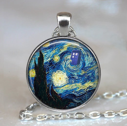 Tardis Pendant Australia - Dr Who Starry Night Pendant, Vincent and The Doctor Dr Who Jewelry, Tardis Pendant, Whovian Necklace, Tardis Jewelry Keychain