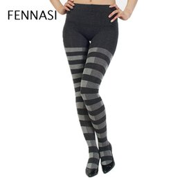 7430780e183 FENNASI Winter Women Warm Tights Striped High Waist Classical Casual Sexy  Pantyhose Female Sexy Thick Cotton Compression Tights