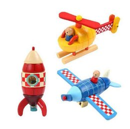 Helicopter Toys NZ - Magnetic Stacking Toys Plane   Helicopter Kids Magnetic Wooden Rocket