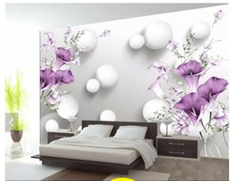 Discount live wallpaper lily - Wholesale-3D photo wallpaper custom 3d wall murals wallpaper Hand painted purple calla lily beautiful fresh 3D living ro