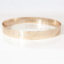 Chains For Mirrors Australia - Fashion Women Belt 2018 Full Metal Mirror Shiny Waist Belt Metallic Gold Plated 7cm 4.5cm 3cm 2cm Wide Chains Lady Ceinture Sashes for Dress