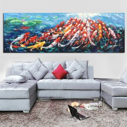 Lotus Painting Art NZ - 1 Piece Wall Canvas Art Picture Print Abstract Fengshui Koi Fish Lotus Landscape Chinese Painting & Calligraphy Poster No Framed