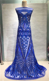wedding dresses india UK - Blue Sequined Wedding African French Mesh Net Lace Fabric For India Evening Party Dress Fabric 2018 New Nigeria Sequins lace