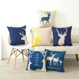 nordic cotton Canada - New Pillow Cover Hot Nordic Simple Deer Cotton Pillowcase Linen Digital Printing Cushion Cover Home Textile Mulitcolor Pillow Case