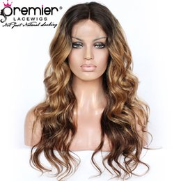 Indian Women Long Hair NZ - Premier Lace Front Wigs Indian Remy Human Hair 150% Density Ombre Long Wavy Hairstyle For Women