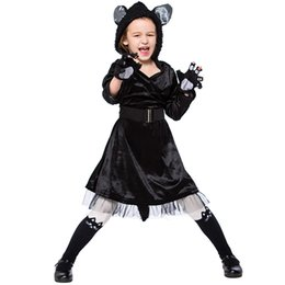 kids girl dresses black UK - Kids Black Cat Hooded Dress Costumes Cosplay For Girls Halloween Masquerade Party Costume Cosplay Size S-L