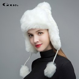 8fb13b77 Gours Fur Hats for Women Faux Fur Russian Ushanka Hats Winter Thick Warm  Ears Fashion Knitted Bomber Caps New Arrival GLH030