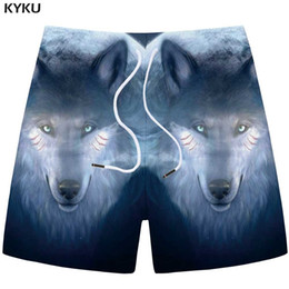 mens black khaki shorts Australia - KYKU Wolf Shorts Men Animal Cargo Short Pants Casual Fitness Moon 3d Printed Shorts Blue Cool Hip Hop Mens New Summer