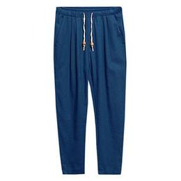 Mens capris wholesale online shopping - Mens Basic Casual Solid Color Loose Elastic Drawstring Pockets Linen Pants men linen breathable trousers