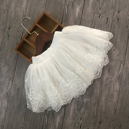 little girls fashion tutu skirts 2019 - 2018 Baby Clothes Toddler Girls Princess Lace White Tutu Skirts Kids Party Birthday Wedding Ballet Dance Skirt Little Gi