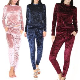 Women Velvet Clothes Australia - Spring Fitness Clothes Women Tracksuits Clothes Set Velvet Long Sleeve Top Pullovers Pants Ladies Black S-XL