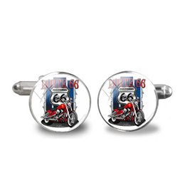 $enCountryForm.capitalKeyWord UK - 2018 New USA ROUTE 66 Cufflink Route 66 Weathered Road Sign Cufflinks Men's Shirt Cuff link Glass Dome Jewelry Photo Cuffs