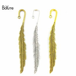 Feather jewelry diy online shopping - BoYuTe Pieces M Vintage Style Multicolor Zinc Alloy Materials Feather Bookmark Diy Jewelry Accessories Supplies for Gifts