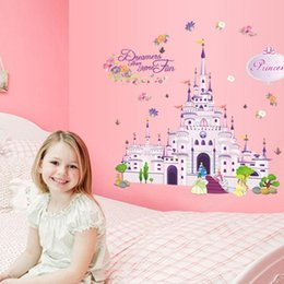 Girls Nursery Wall Stickers Australia - posters free shipping Princess Dream castle Wall Stickers Vinyl Decal Girl Room Nursery Y009 Wallpaper Mural Art poster