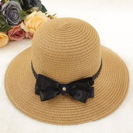 e13eff5dc03 2018 New Fashion Sun Caps Bow Tie Ribbon Straw Hat Round Flat Top Straw  Beach Hat Summer Hats For Women Snapback 5 Colors