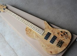 Bass Neck Guitar NZ - 2018 Factory Wholesale 4-string Neck-Thru-Body Electric Bass Guitar with Tree Burl Paterrn,Gold Hardwares,Good Quality