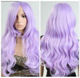 Discount purple hair lolita cosplay - Women Lolita Light Purple Hair Long Wavy Curly Cosplay Party Full Wig