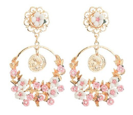 Resin Rose floweR Ring online shopping - new hot Style The new baroque brand of vintage fresh rose flower resin large ring earrings fashion classic delicate