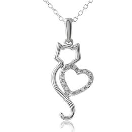 Discount metal colar necklace - LASPERAL Women Colar Trendy Alloy Metal Choker Necklace Cute Hollow Heart Cat Crystals Necklaces Women Animal Pendant Ne