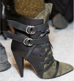 army green shoes Canada - 2018 new Army Green Women Point Toe Brand desigh Boots Fall Winter Patchwork Cross Tied Buckled Spike Heels booties Women party Shoes