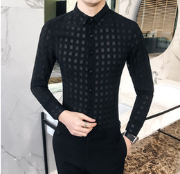Wholesale sexy club shirts online – Mens Sexy Lace Shirts Plaid See Though Design Long Sleeve Casual Spring Night Club Shirt Top Clothing