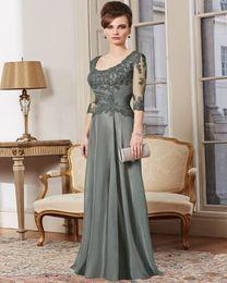 $enCountryForm.capitalKeyWord NZ - 2018 Elegant Mother Of The Bride Dresses-3-4 Sleeves Gray Lace Long Brides Mother Dresses