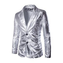 ingrosso abiti di seta dorati-New Black Silver Man Suit Blazer Golden Sequin Blazer maschile Doppio bottone Mens Dress Coat Tempo libero Blazer di velluto a coste Uomo Large Size M XL