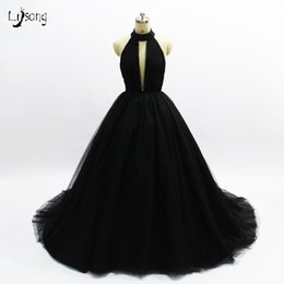bd281fb2 Gold halter maxi dress online shopping - Hot Black Tulle Multi Layers Prom  Party Dress Backless