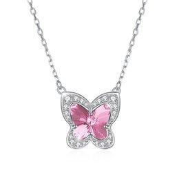 Collar de plata esterlina de calidad superior clase mujeres niñas regalo joyería collar de circón mariposa colgante de cristal de Swarovski Element en venta