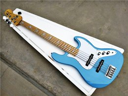 Body jazz Bass online shopping - Factory GYJB Sky blue color White plate Chrome hardware EMG pickup string Jazz Bass Electric Guitar e
