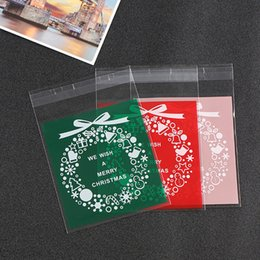 biscuits pack 2018 - 100pcs lot Candy&Cookies Bags for Christmas Party Packing Wrapper For Bake Biscuit Gift Bags Self-Adhesive Packaging che