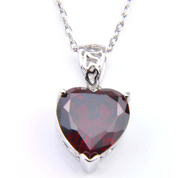 $enCountryForm.capitalKeyWord Canada - Luckyshine 20 Pcs Heart Red Garnet Gems Silver Charm Pendants Vintage pendants Jewelry For Women Wholesale