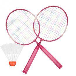 Enfants enfants raquette de badminton raquette volant ensemble alliage raquette de badminton entraînement de pratique raquette légère avec balles en Solde