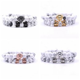 Men head crown online shopping - 2 Set Animal King Lion Head Howlite Turquoise Bracelet Black Natural Stone Crown Couple Braclet Sets For Men Hand Jewelry Accessories