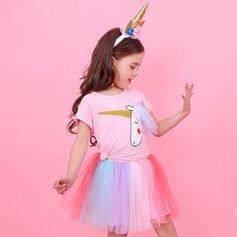 $enCountryForm.capitalKeyWord Canada - Ins Baby Girls Dress Cartoon Unicorn T shirt Top Lace Rainbow Tutu Skirt Outfits 2Pcs Sets Girl Clothing Summer LC733