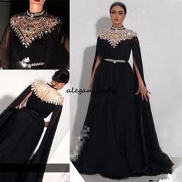 d909490966d3b Plus Size Crystals Kaftan 2018 Prom Dresses Caped Long Sleeves Yousef  Aljasmi High Neck Black Long Chiffon Arabic Formal Evening Gowns