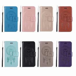 $enCountryForm.capitalKeyWord NZ - Fashion Owl Dreamcatcher Wallet Leather Case For Iphone XR XS MAX X Galaxy Note 9(J8 J4 A6)2018 Luxury Cash PU Card Slot Flip Cover Strap