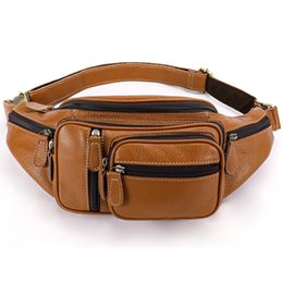 $enCountryForm.capitalKeyWord UK - Vintage Men Waist Bag Mini Round Belt Bag Pouch Fashion Quilted Cow Leather Fanny Pack Casual Male Crossbody Travel Chest